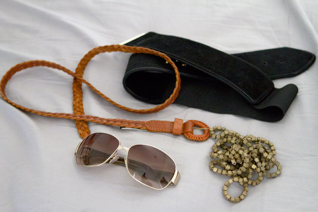 Brown braided belt, wide black belt, sunglasses, wooden bead necklace