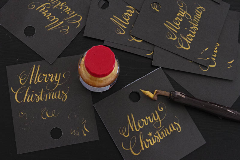 merry christmas gold ink calligraphy-2