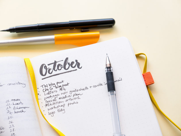 Notebook with October to do list