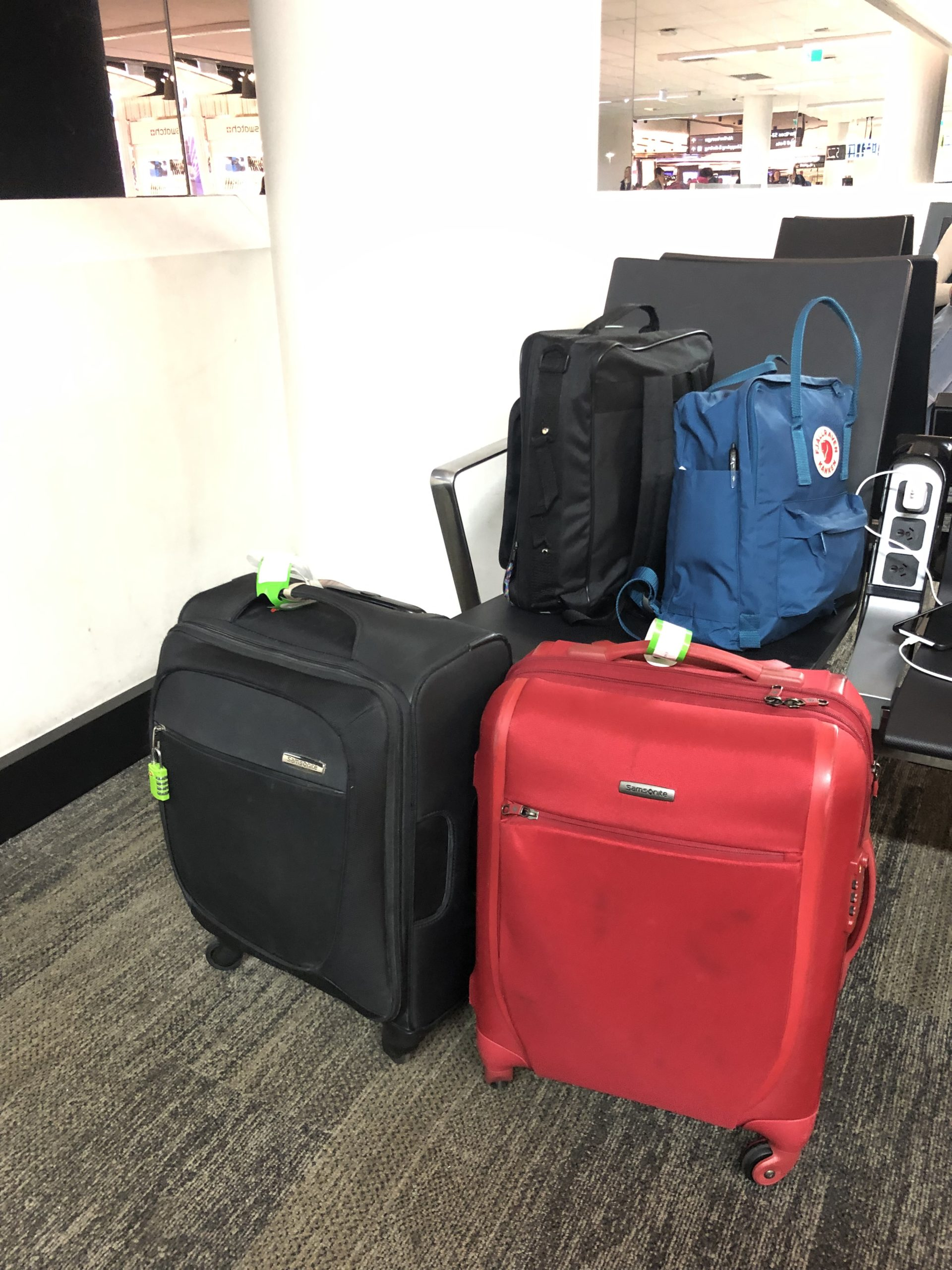 2 carry on sized suitcases and 2 backpacks