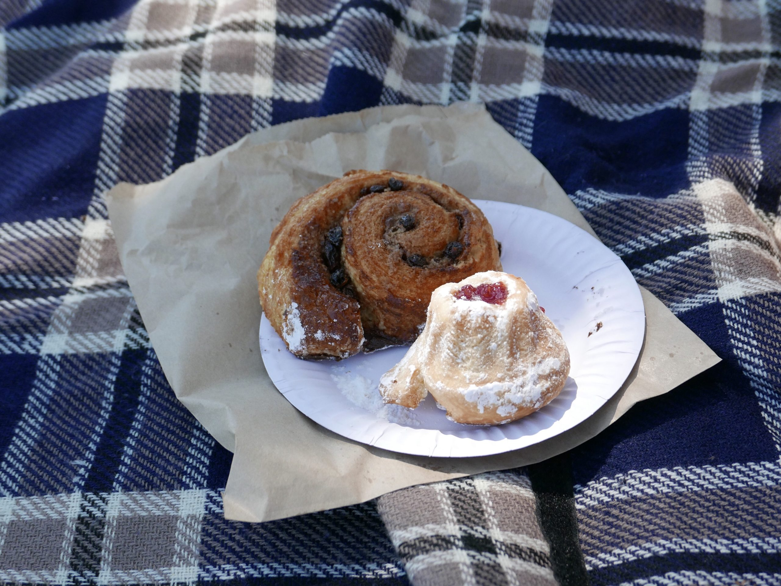 An escargot and a gugelhupf, on a plate on a picnic blanket