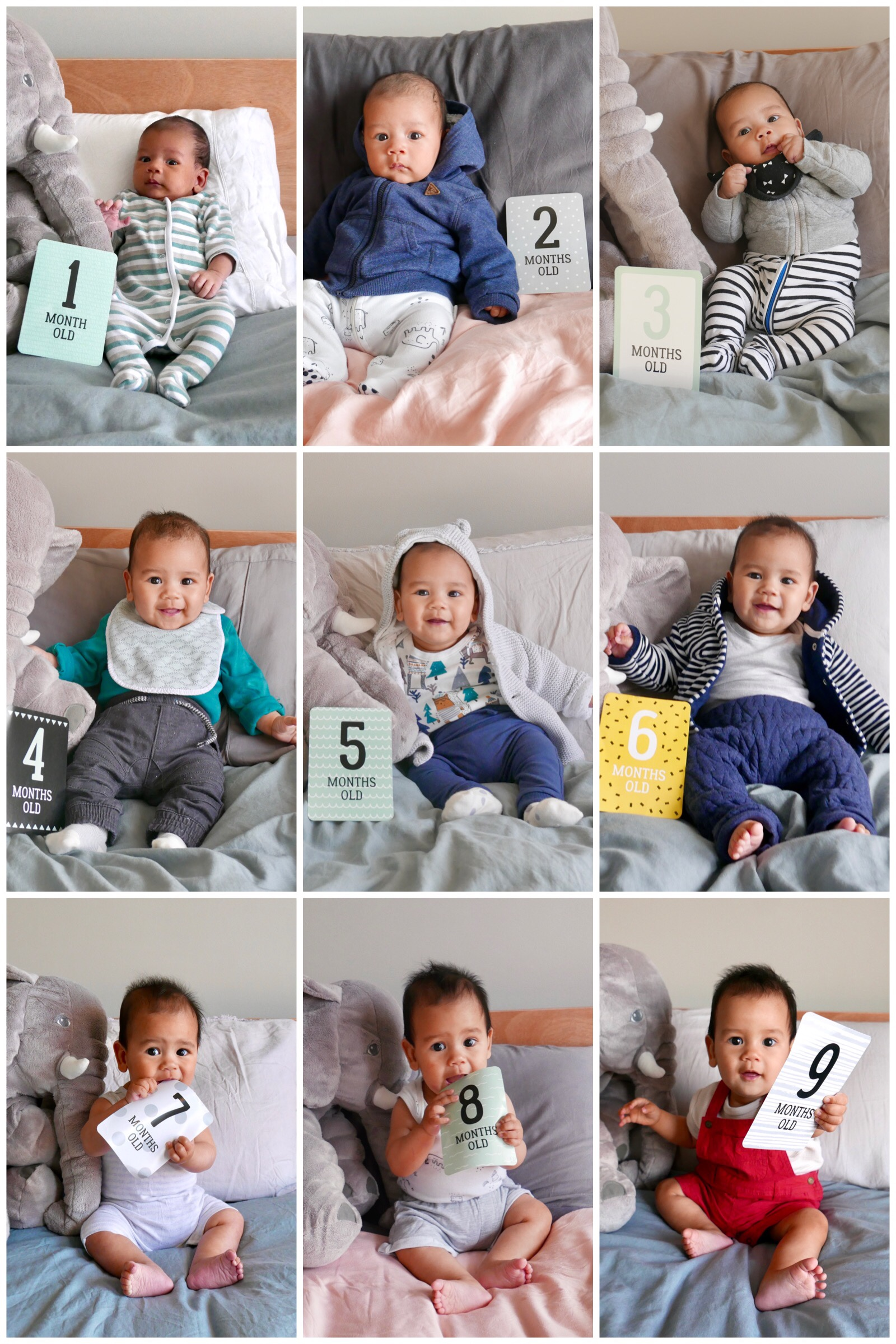 9 photos of a baby, from 1 month old to 9 months