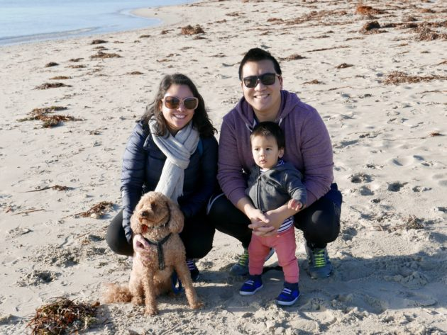 Myself, Jeff, Felix and our dog Jasper at the beach