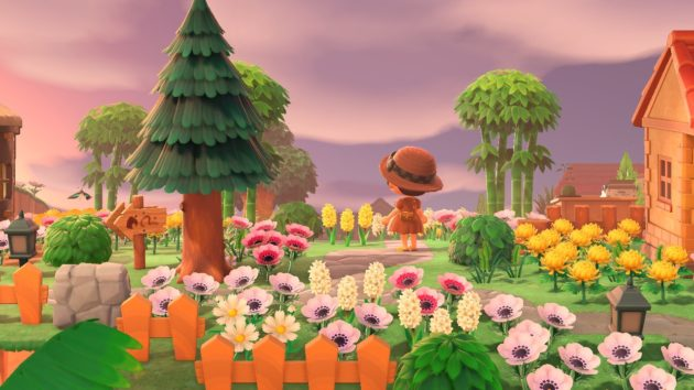 Screenshot of Animal Crossing - my pink, yellow and white flowers