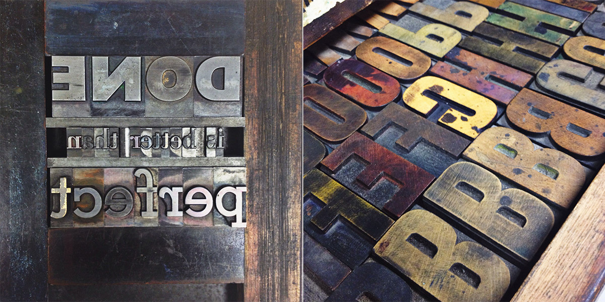 My first attempt at letterpress typesetting; original wooden type