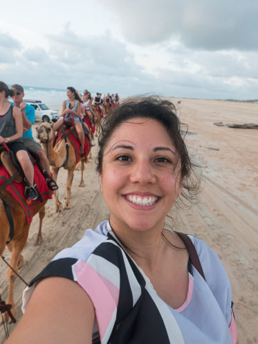 Selfie on a camel in Broome
