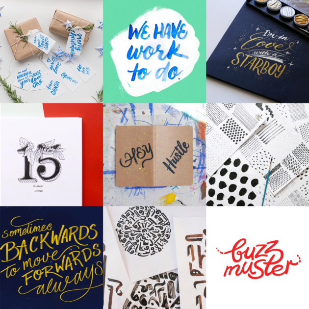 Examples of my lettering and branding work in 2016