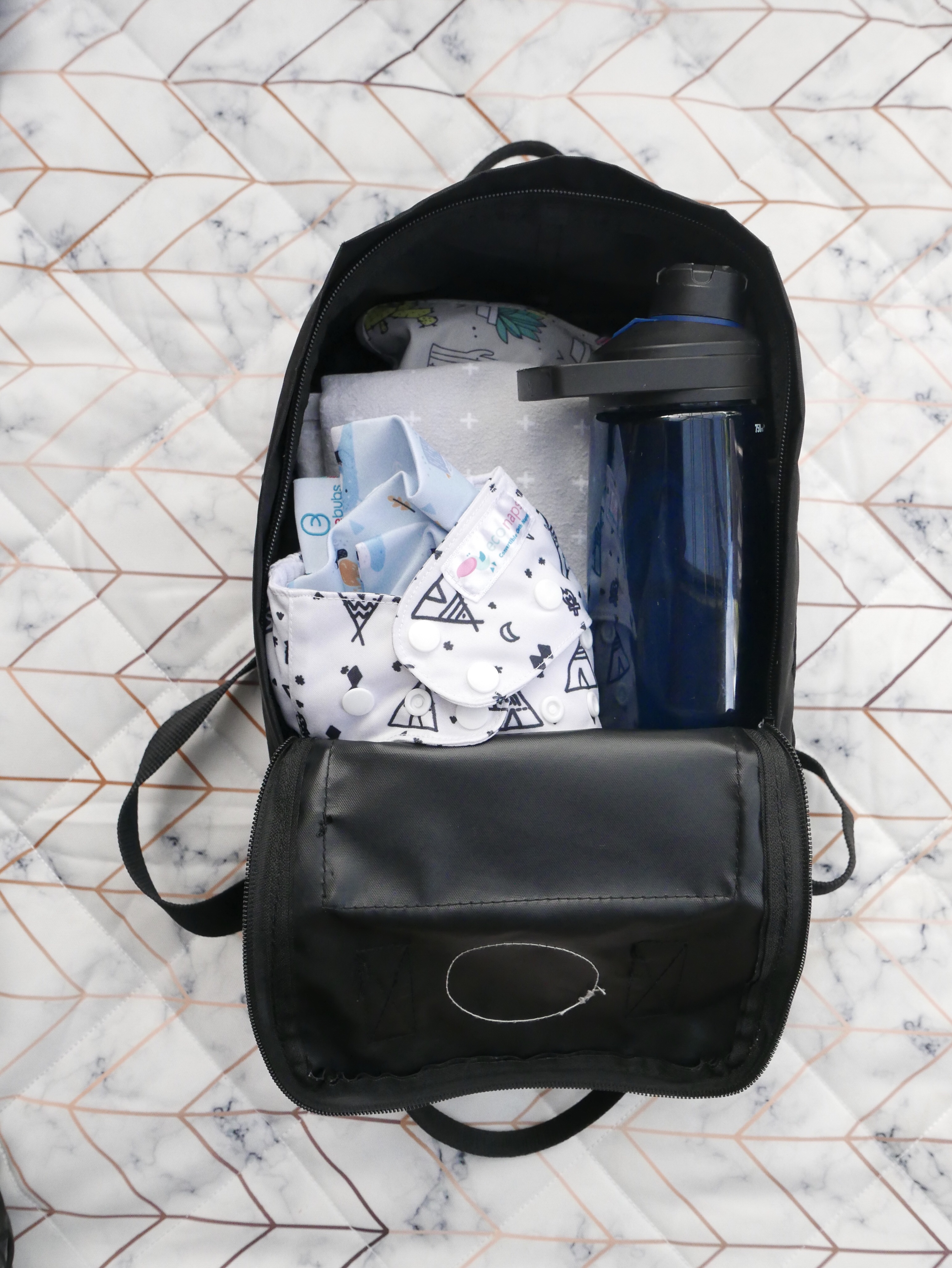 Backpack partially filled with essentials
