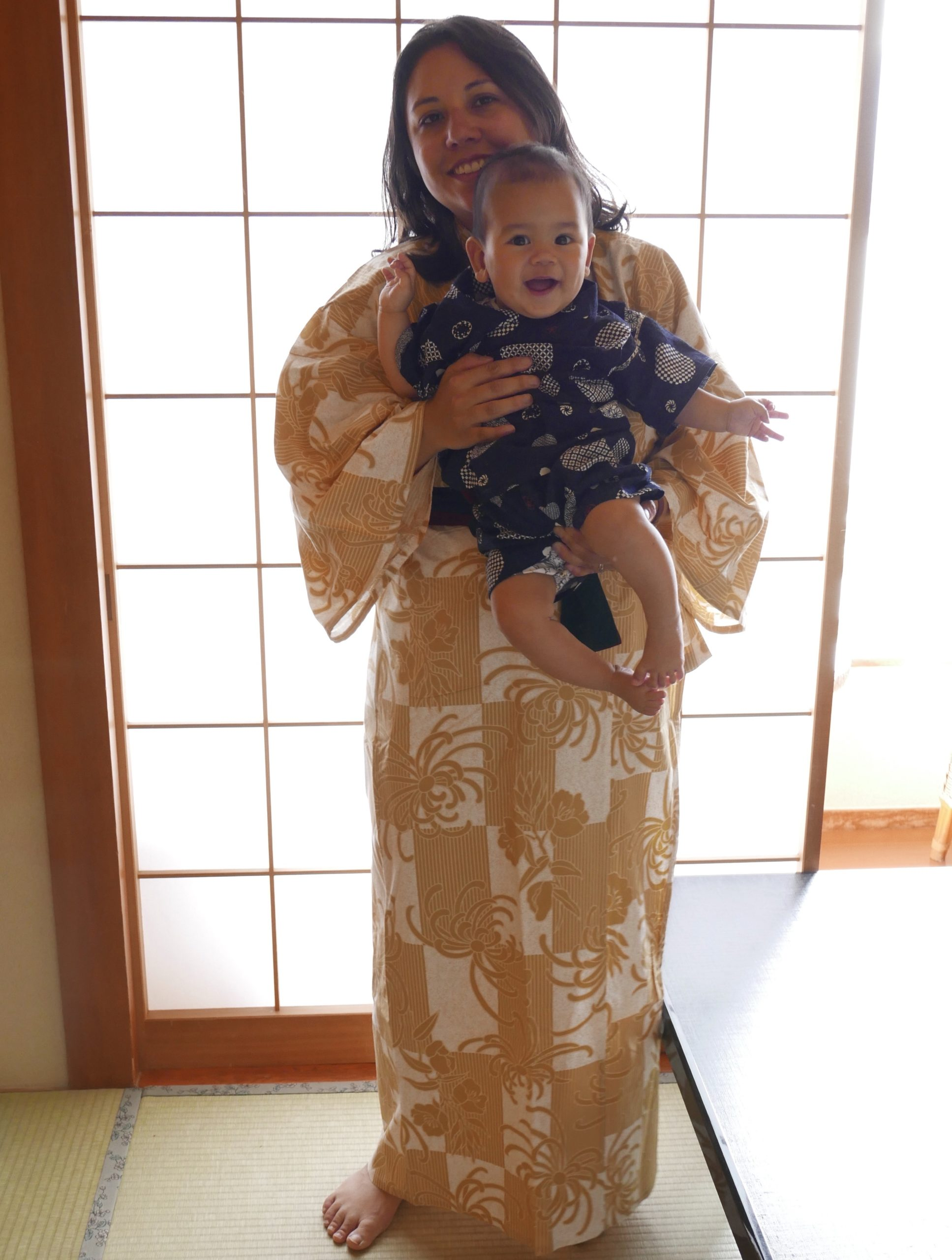 Mother and baby dressed in Yukata