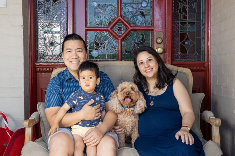 Family photo with Jeff, Felix, myself and our dog Jasper
