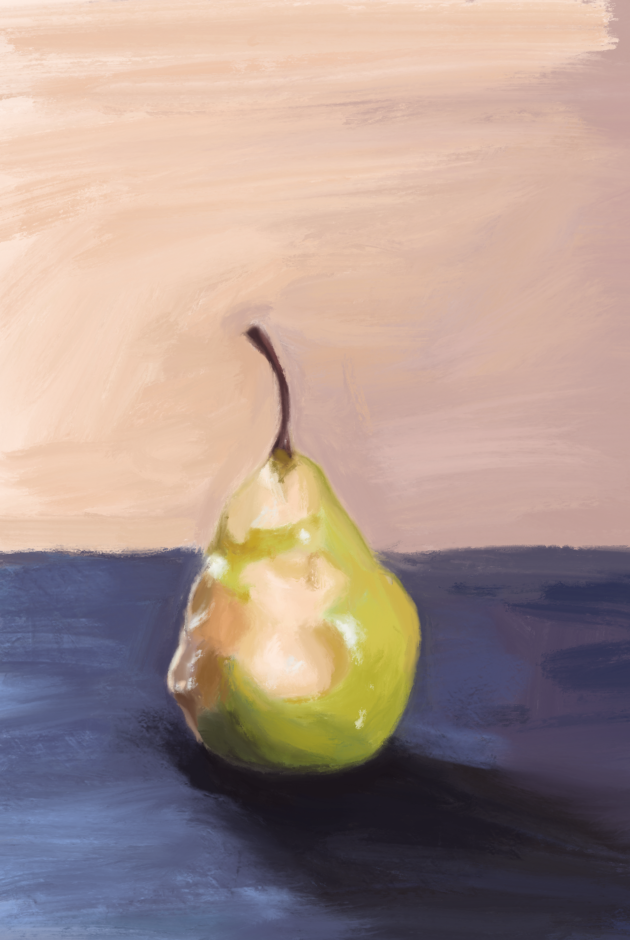 Digital painting I did of a half eaten pear